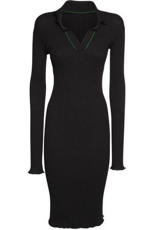 Bottega Veneta Ribbed Cotton Knee Length Dress