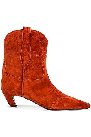 Khaite Dallas Ankle Boots in Rust
