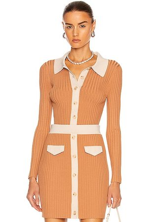 JONATHAN SIMKHAI Elsie Cut Out Polo Cardigan in Camel Combo