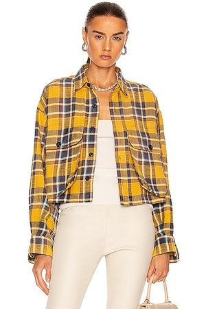 R13 Oversized Cropped Shirt in Plaid