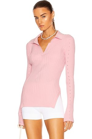 Helmut Lang Slash Polo Top in Orchid