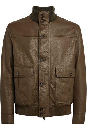 Brioni Leather Bomber Jacket