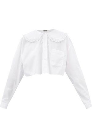 Miu Miu Peter Pan-collar Cropped Cotton-poplin Shirt - Womens