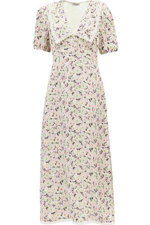 Miu Miu Exaggerated-collar Floral-print Sablé Midi Dress - Womens