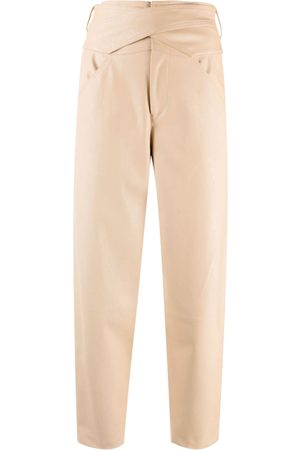 Pinko High-waisted faux leather cropped trousers - Neutrals