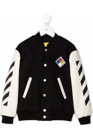 Off-White Kids Logo-patch Diag varisty jacket