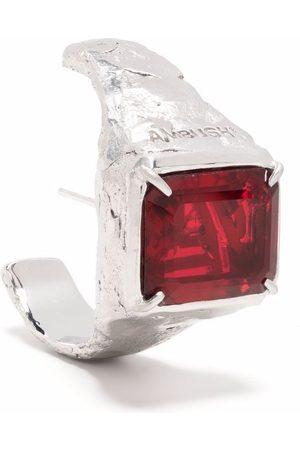 AMBUSH Earrings - S SQUARE CUT STONE EARRING PLATINO RED