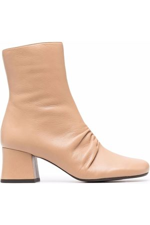 Chie Mihara Meru gathered-detail leather boots - Neutrals