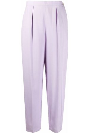 CHANEL Women Trousers - 2000s tailored-cut tapered silk trousers