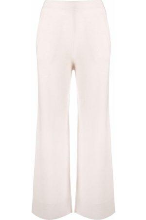 Allude Women Wide Leg Trousers - Wide-leg fine-knit trousers - Neutrals