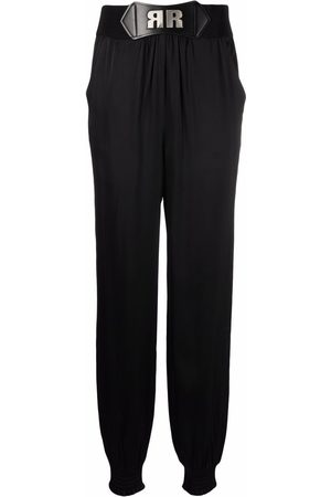 ROTATE Women Trousers - Satin-effect belted trousers