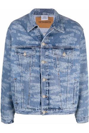 Vetements Men Denim Jackets - Logo-print denim jacket