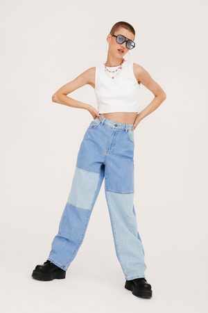 NASTY GAL Womens Colorblock High Waisted Straight Leg Jeans