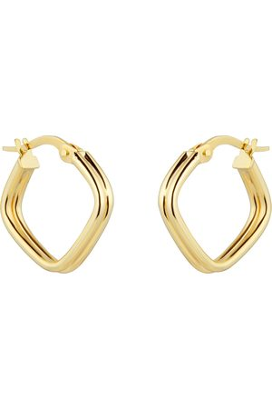 GOLDSMITHS 9ct Yellow Gold Double Row Square Hoop Earrings