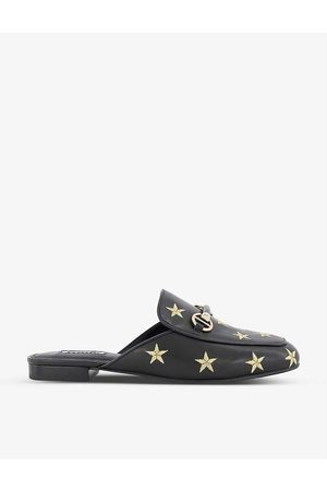 Dune Galaxies star-embroidered backless leather loafers