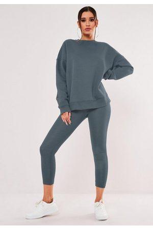 Missguided Deep Fleeceback Oversized Sweatshirt And Leggings Co Ord Set