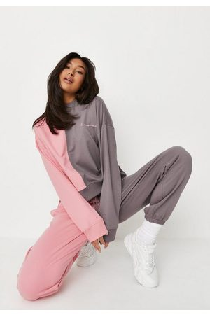 Missguided Pink Colourblock Loopback Sweatshirt And Joggers Co Ord Set, Multi