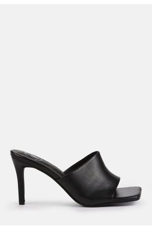 Missguided Faux Leather Mid Heel Mule Sandals