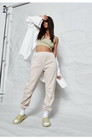 Missguided Sand Co Ord Washed Seam Detail Fleeceback 90S Joggers, Camel