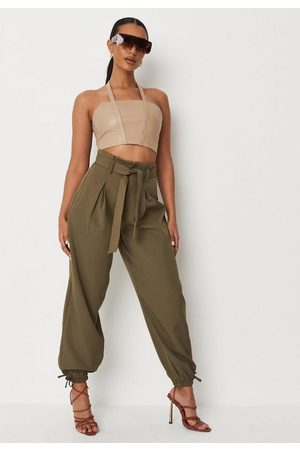 Missguided Khaki Elastic Cuff Paperbag Waist Trousers, Kahki