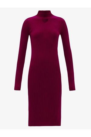 Bottega Veneta Triangle-cutout Ribbed Wool-blend Midi Dress - Womens - Burgundy