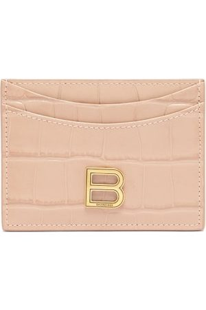 Balenciaga Hourglass Cross-embossed Leather Cardholder - Womens