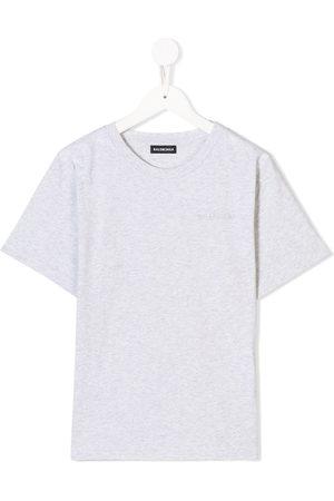 Balenciaga Kids Boys Short Sleeve - Logo embroidered T-shirt