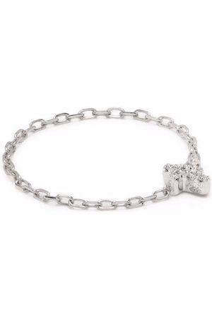 Djula 18kt white gold cross chain diamond ring