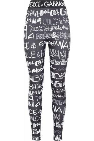 Dolce & Gabbana Women Trousers - Graffiti-logo leggings