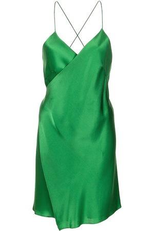 Michelle Mason Women Party Dresses - Satin wrap mini dress