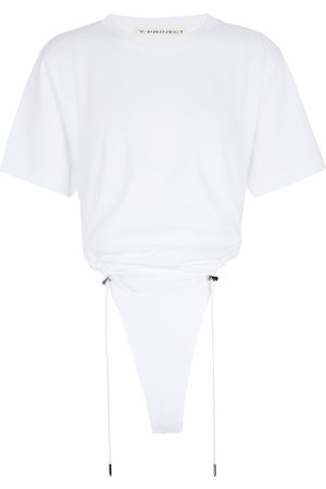 Y / PROJECT Women Tops - Ruched cotton bodysuit