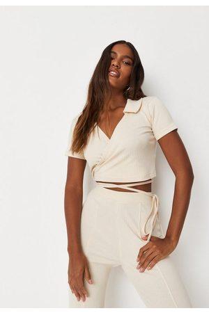 Missguided Women Polo Shirts - Stone Co Ord Rib Tie Wrap Polo T Shirt, Stone