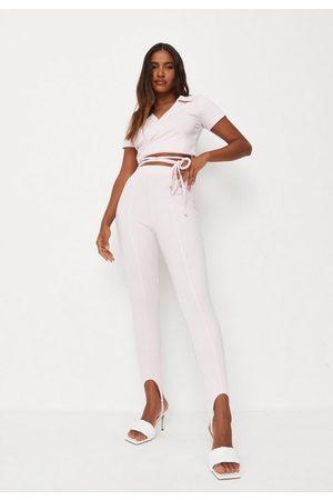 Missguided Women Trousers - Co Ord Rib Stirrup Leggings