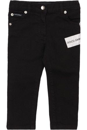 Dolce & Gabbana Girls Jeans - Embellished Cotton Denim Jeans