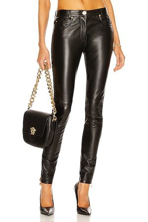 VERSACE Leather Skinny Pant in Nero