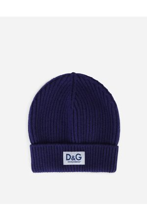 Dolce & Gabbana Hats and Gloves - Knit cashmere hat with D & G patch male OneSize