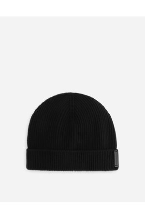 Dolce & Gabbana Hats and Gloves - Knit wool hat with leather logo male OneSize
