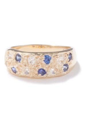 Bleue Burnham Mini Riviera Sapphire & Crystal Recycled- Ring - Mens