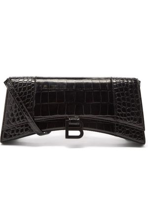 Balenciaga Hourglass Stretched Croc-effect Leather Bag - Womens