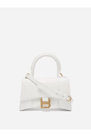 Balenciaga Hourglass Xs Crocodile-effect Leather Bag - Womens