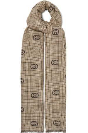 Gucci GG-embroidered Checked Scarf - Mens