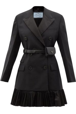 Prada Double-breasted Belted Mohair-blend Blazer Dress - Womens