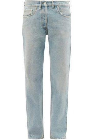 Prada Women Straight - Logo-plaque Straight-leg Denim Jeans - Womens