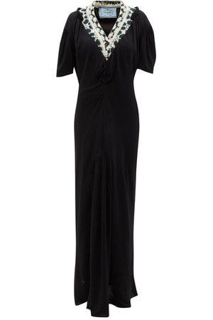 Prada V-neck Jacquard-panel Crepe Maxi Dress - Womens