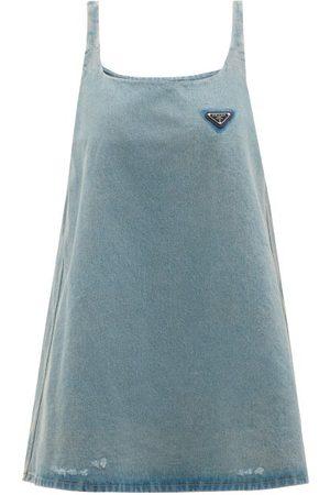Prada Logo-plaque Distressed Denim Dress - Womens