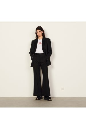 Sandro Wide Leg Trousers - Flared high-waisted trousers