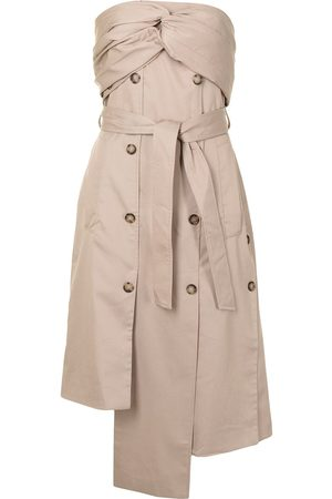 Rokh Women Asymmetrical Dresses - Strapless asymmetric-tied dress - Neutrals