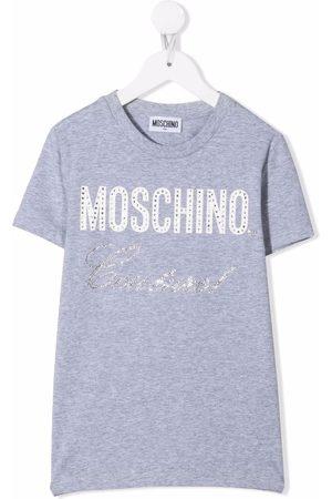 Moschino Kids Boys Short Sleeve - Crystal embellished logo T-shirt