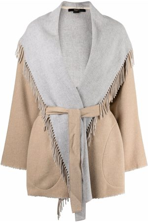 SEVENTY BY SERGIO TEGON Mid-length fringed belted coat - Neutrals