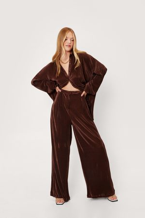 NASTY GAL Womens High Waisted Plisse Wide Leg Trousers